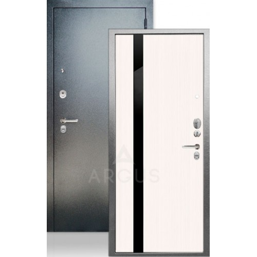 """Стальная входная дверь Аргус ДА-65 Соло Белый ясень с черным стеклом """"Кензо"""""""